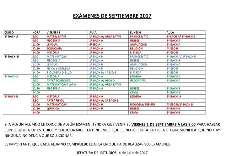 EXÁMENES DE SEPTIEMBRE 2017-2