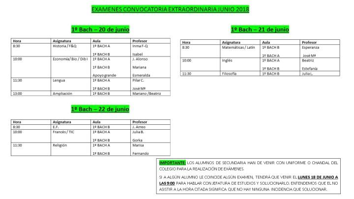 Exámenes convocatoria 1º Bachillerato