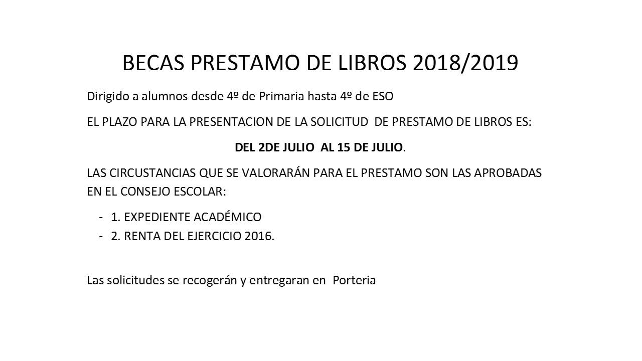 Becas Préstamo de libros 2018-19